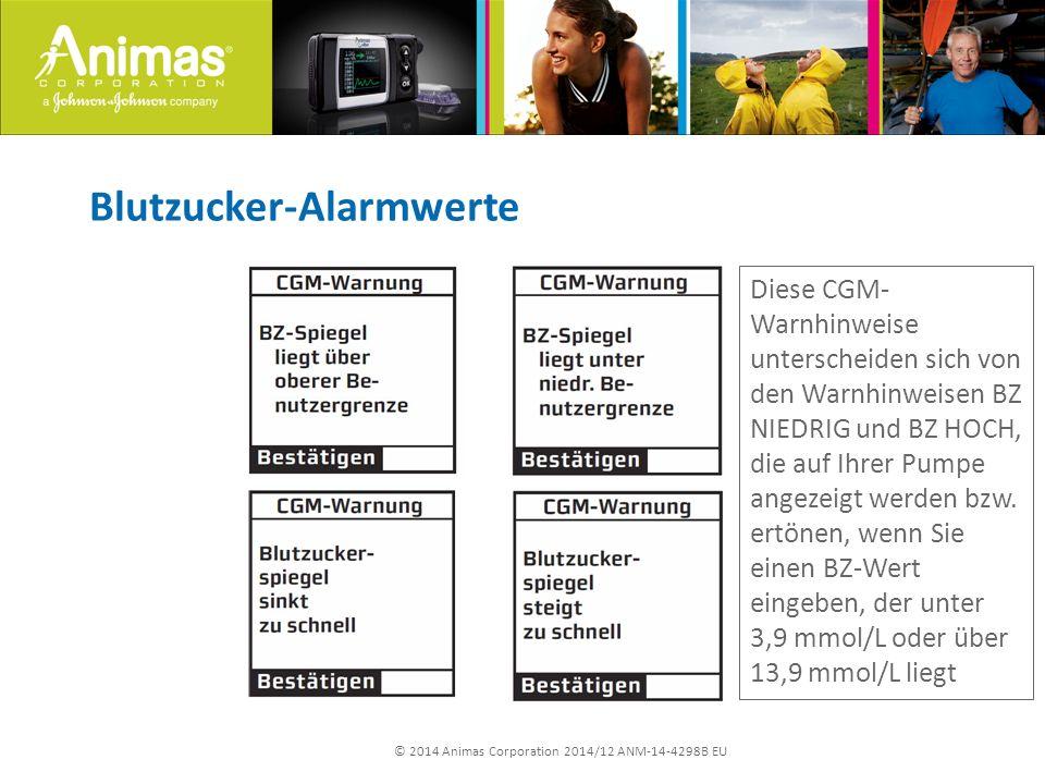 © 2014 Animas Corporation 2014/12 ANM-14-4298B EU Blutzucker-Alarmwerte Diese CGM- Warnhinweise unterscheiden sich von den Warnhinweisen BZ NIEDRIG und BZ HOCH, die auf Ihrer Pumpe angezeigt werden bzw.