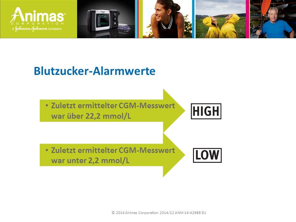 © 2014 Animas Corporation 2014/12 ANM-14-4298B EU Blutzucker-Alarmwerte Zuletzt ermittelter CGM-Messwert war über 22,2 mmol/L Zuletzt ermittelter CGM-Messwert war unter 2,2 mmol/L