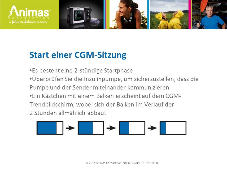 © 2014 Animas Corporation 2014/12 ANM-14-4298B EU Start einer CGM-Sitzung Es besteht eine 2-stündige Startphase Überprüfen Sie die Insulinpumpe, um si