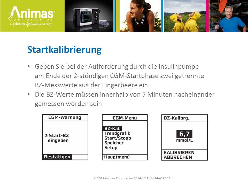 © 2014 Animas Corporation 2014/12 ANM-14-4298B EU Startkalibrierung Geben Sie bei der Aufforderung durch die Insulinpumpe am Ende der 2-stündigen CGM-
