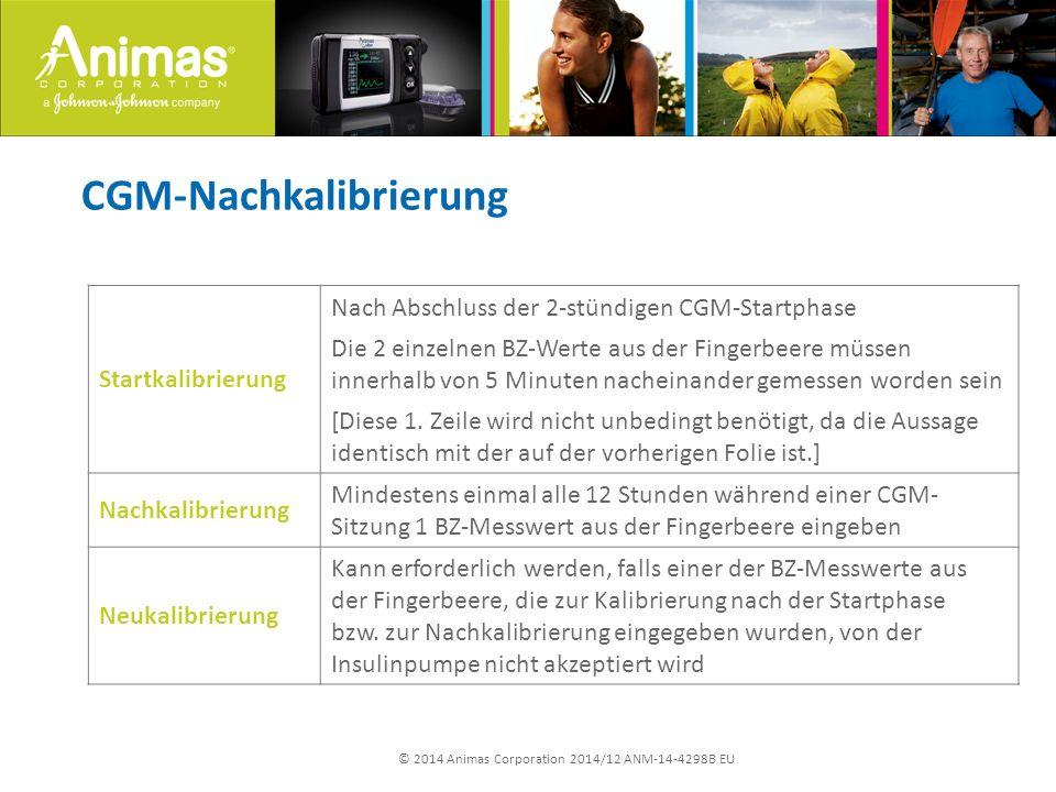 © 2014 Animas Corporation 2014/12 ANM-14-4298B EU Startkalibrierung Nach Abschluss der 2-stündigen CGM-Startphase Die 2 einzelnen BZ-Werte aus der Fin