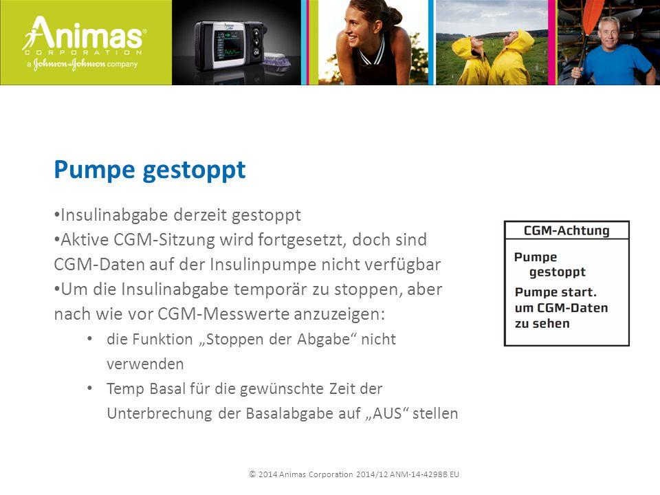 © 2014 Animas Corporation 2014/12 ANM-14-4298B EU Pumpe gestoppt Insulinabgabe derzeit gestoppt Aktive CGM-Sitzung wird fortgesetzt, doch sind CGM-Dat