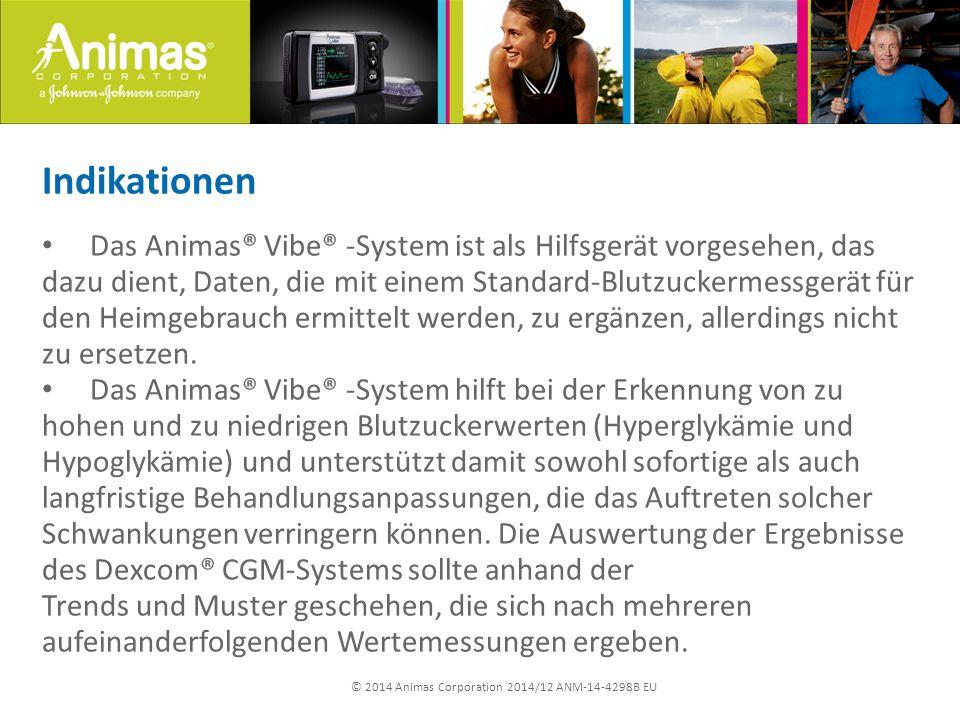 © 2014 Animas Corporation 2014/12 ANM-14-4298B EU Indikationen Das Animas® Vibe® -System ist als Hilfsgerät vorgesehen, das dazu dient, Daten, die mit