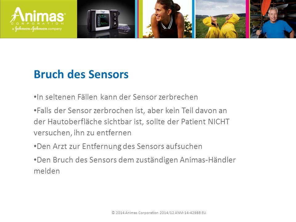 © 2014 Animas Corporation 2014/12 ANM-14-4298B EU Bruch des Sensors In seltenen Fällen kann der Sensor zerbrechen Falls der Sensor zerbrochen ist, abe