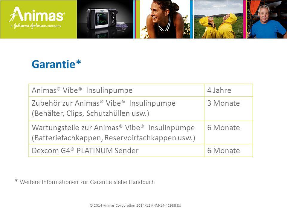 © 2014 Animas Corporation 2014/12 ANM-14-4298B EU Garantie* Animas® Vibe® Insulinpumpe4 Jahre Zubehör zur Animas® Vibe® Insulinpumpe (Behälter, Clips,
