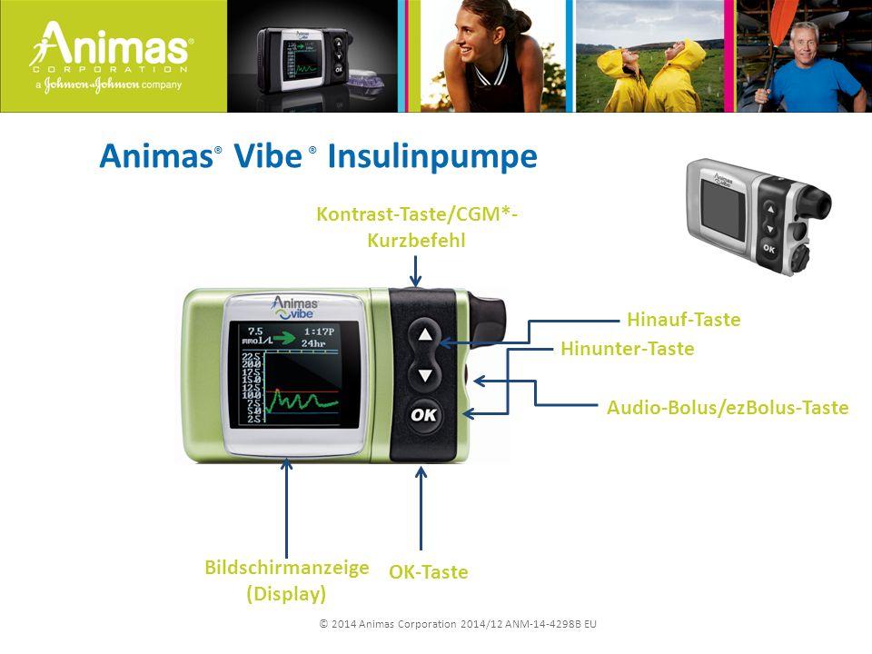 © 2014 Animas Corporation 2014/12 ANM-14-4298B EU Animas ® Vibe ® Insulinpumpe Kontrast-Taste/CGM*- Kurzbefehl Bildschirmanzeige (Display) OK-Taste Audio-Bolus/ezBolus-Taste Hinunter-Taste Hinauf-Taste