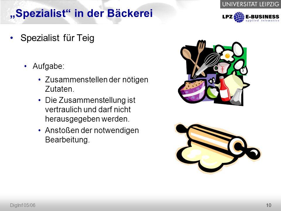 """10 DigInf 05/06 """"Spezialist in der Bäckerei Spezialist für Teig Aufgabe: Zusammenstellen der nötigen Zutaten."""