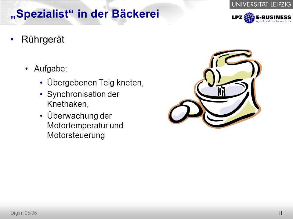 """11 DigInf 05/06 """"Spezialist in der Bäckerei Rührgerät Aufgabe: Übergebenen Teig kneten, Synchronisation der Knethaken, Überwachung der Motortemperatur und Motorsteuerung"""