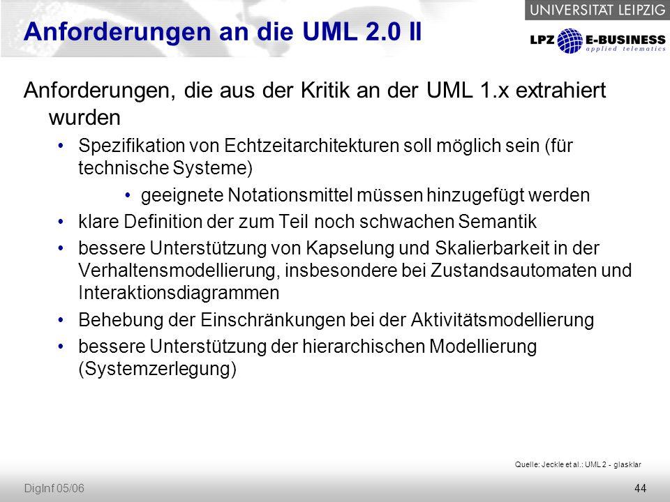 44 DigInf 05/06 Anforderungen an die UML 2.0 II Anforderungen, die aus der Kritik an der UML 1.x extrahiert wurden Spezifikation von Echtzeitarchitekturen soll möglich sein (für technische Systeme) geeignete Notationsmittel müssen hinzugefügt werden klare Definition der zum Teil noch schwachen Semantik bessere Unterstützung von Kapselung und Skalierbarkeit in der Verhaltensmodellierung, insbesondere bei Zustandsautomaten und Interaktionsdiagrammen Behebung der Einschränkungen bei der Aktivitätsmodellierung bessere Unterstützung der hierarchischen Modellierung (Systemzerlegung) Quelle: Jeckle et al.: UML 2 - glasklar