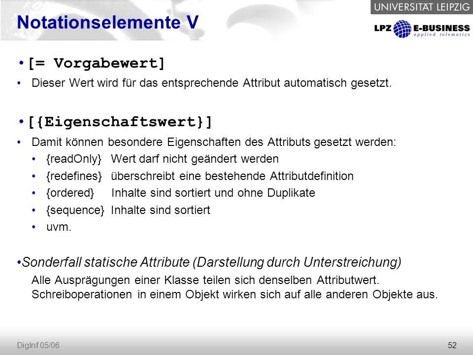 52 DigInf 05/06 Notationselemente V [= Vorgabewert] Dieser Wert wird für das entsprechende Attribut automatisch gesetzt.