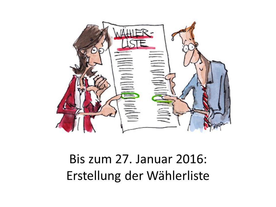Bis zum 27. Januar 2016: Erstellung der Wählerliste