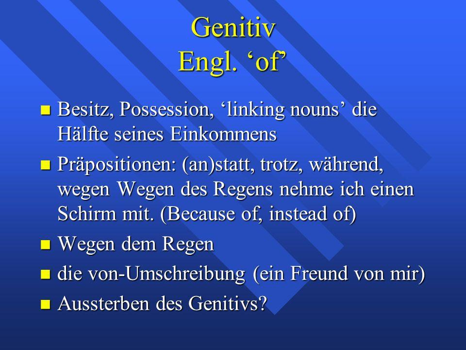 Genitiv Engl. 'of' Besitz, Possession, 'linking nouns' die Hälfte seines Einkommens Besitz, Possession, 'linking nouns' die Hälfte seines Einkommens P