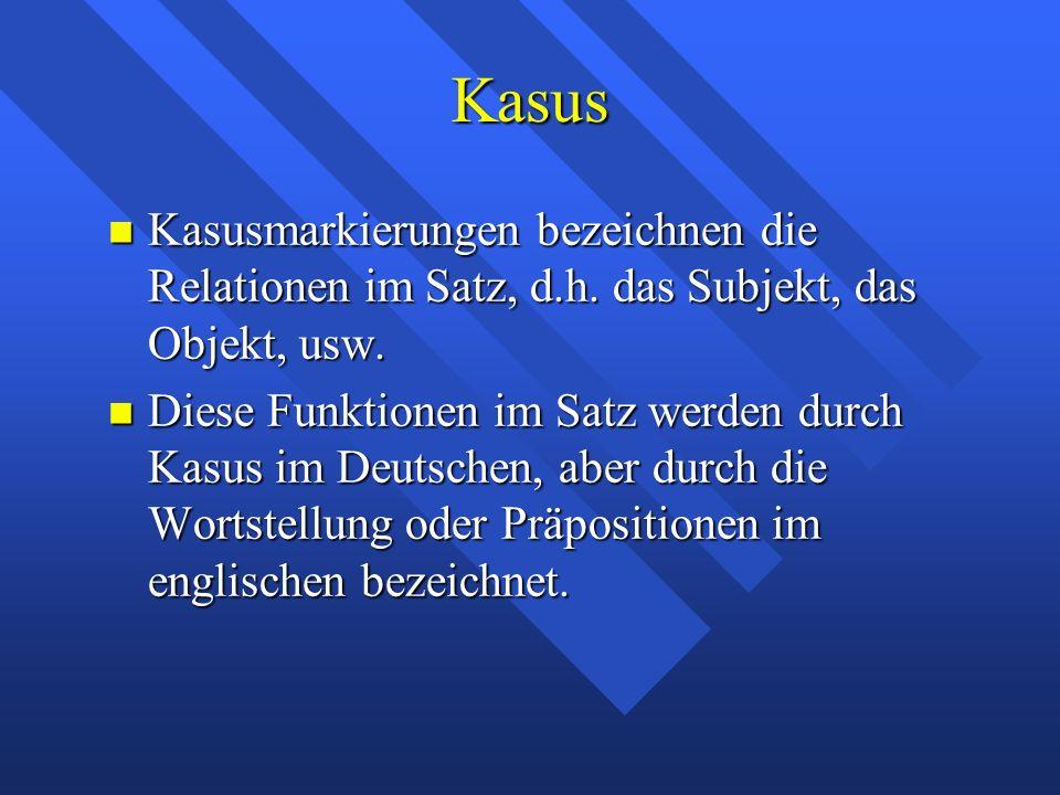 Kasus Kasusmarkierungen bezeichnen die Relationen im Satz, d.h. das Subjekt, das Objekt, usw. Kasusmarkierungen bezeichnen die Relationen im Satz, d.h
