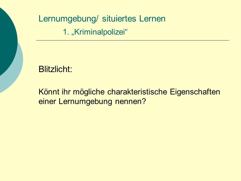 Lernumgebung/ situiertes Lernen 2.
