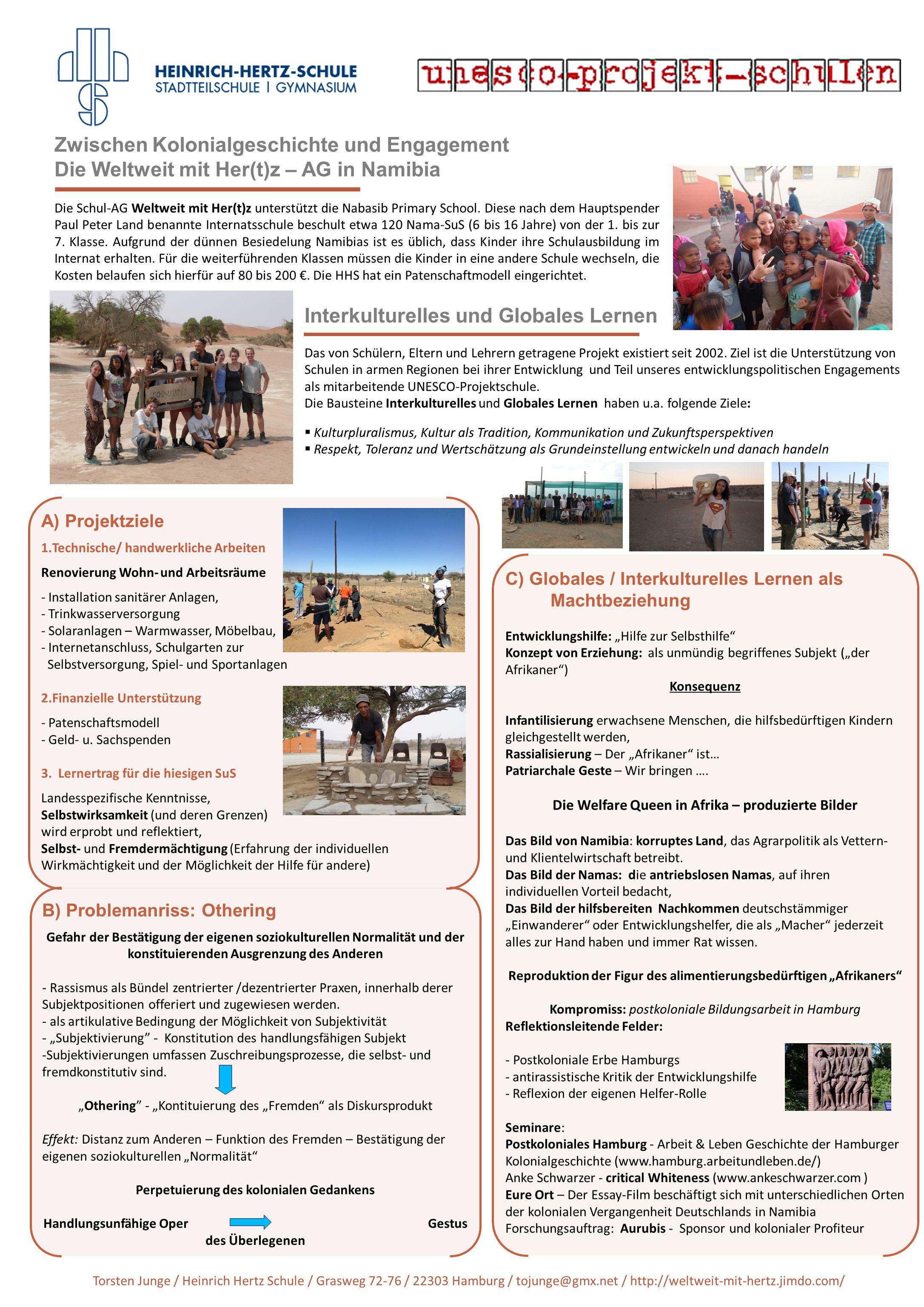 Zwischen Kolonialgeschichte und Engagement Die Weltweit mit Her(t)z – AG in Namibia Die Schul-AG Weltweit mit Her(t)z unterstützt die Nabasib Primary School.