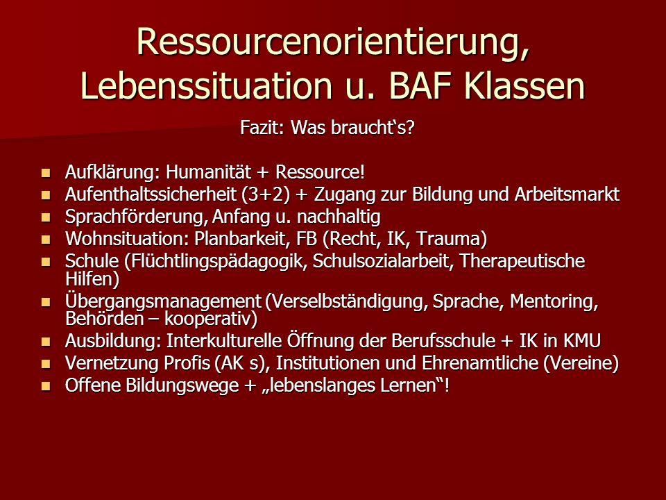 Ressourcenorientierung, Lebenssituation u. BAF Klassen Fazit: Was braucht's.