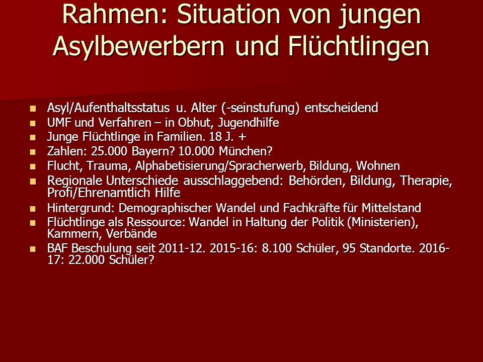 Rahmen: Situation von jungen Asylbewerbern und Flüchtlingen Asyl/Aufenthaltsstatus u.