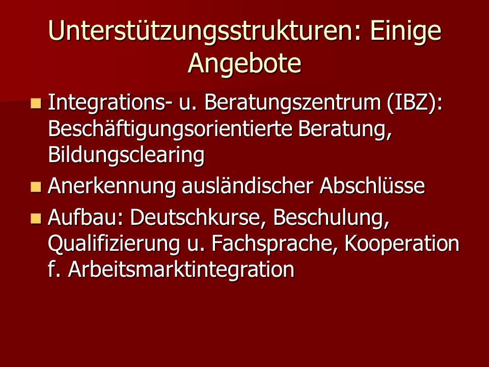 Unterstützungsstrukturen: Einige Angebote Integrations- u.