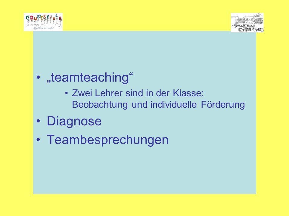 """""""teamteaching Zwei Lehrer sind in der Klasse: Beobachtung und individuelle Förderung Diagnose Teambesprechungen"""