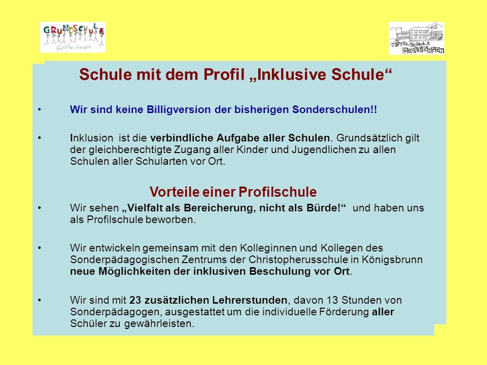 """Schule mit dem Profil """"Inklusive Schule Wir sind keine Billigversion der bisherigen Sonderschulen!."""