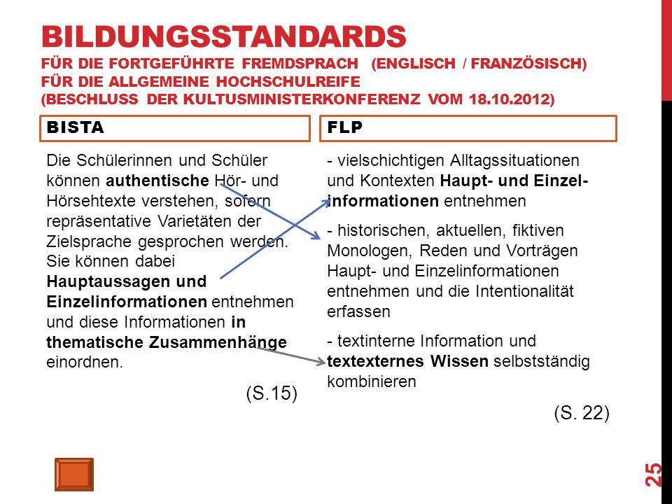 BILDUNGSSTANDARDS FÜR DIE FORTGEFÜHRTE FREMDSPRACH (ENGLISCH / FRANZÖSISCH) FÜR DIE ALLGEMEINE HOCHSCHULREIFE (BESCHLUSS DER KULTUSMINISTERKONFERENZ VOM 18.10.2012) BISTA Die Schülerinnen und Schüler können authentische Hör- und Hörsehtexte verstehen, sofern repräsentative Varietäten der Zielsprache gesprochen werden.