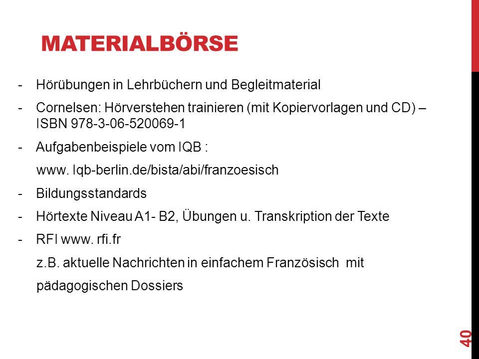MATERIALBÖRSE -Hörübungen in Lehrbüchern und Begleitmaterial -Cornelsen: Hörverstehen trainieren (mit Kopiervorlagen und CD) – ISBN 978-3-06-520069-1 -Aufgabenbeispiele vom IQB : www.
