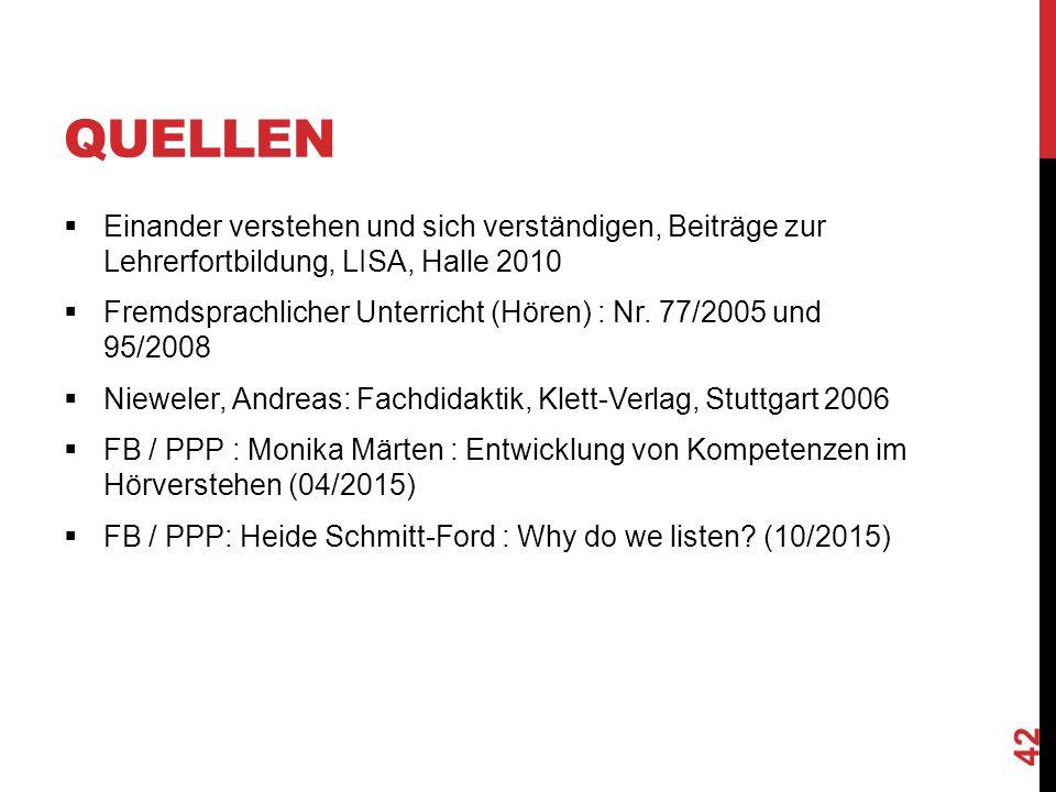 QUELLEN  Einander verstehen und sich verständigen, Beiträge zur Lehrerfortbildung, LISA, Halle 2010  Fremdsprachlicher Unterricht (Hören) : Nr.