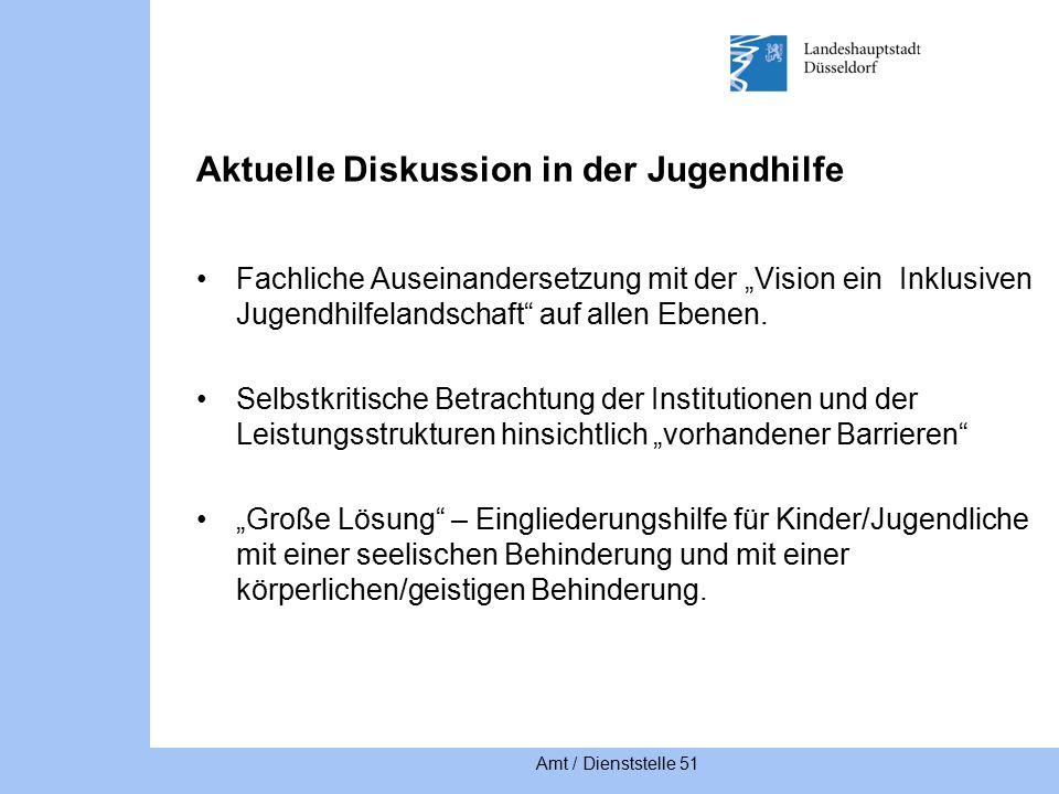 """Amt / Dienststelle 51 Aktuelle Diskussion in der Jugendhilfe Fachliche Auseinandersetzung mit der """"Vision ein Inklusiven Jugendhilfelandschaft auf allen Ebenen."""