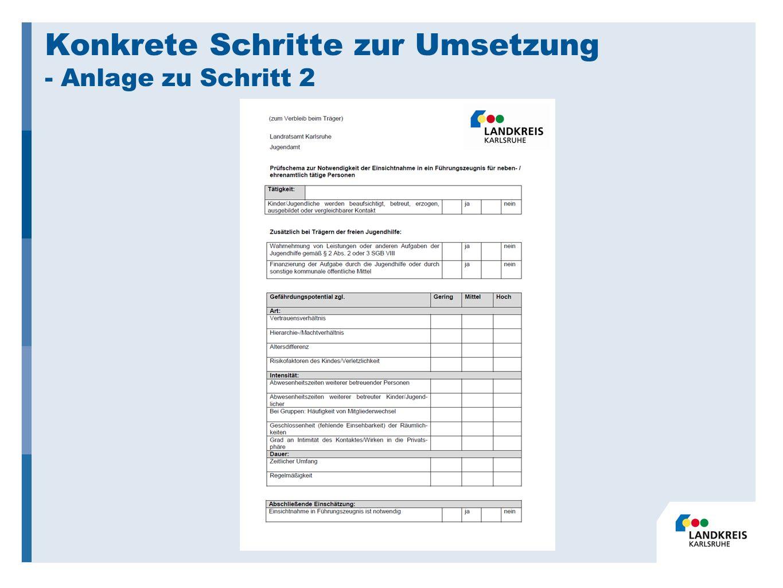 Konkrete Schritte zur Umsetzung - Anlage zu Schritt 2