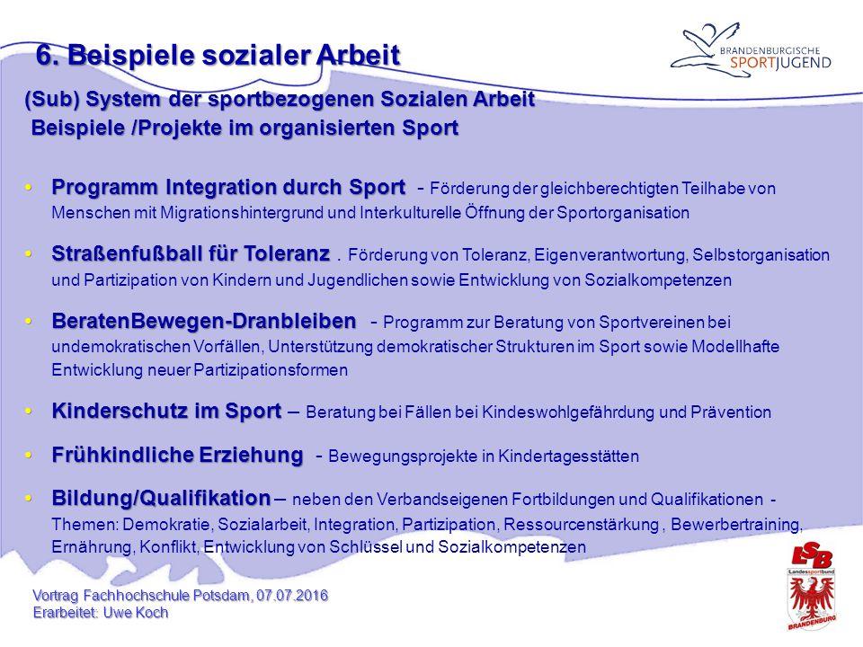 6. Beispiele sozialer Arbeit (Sub) System der sportbezogenen Sozialen Arbeit Beispiele /Projekte im organisierten Sport Beispiele /Projekte im organis