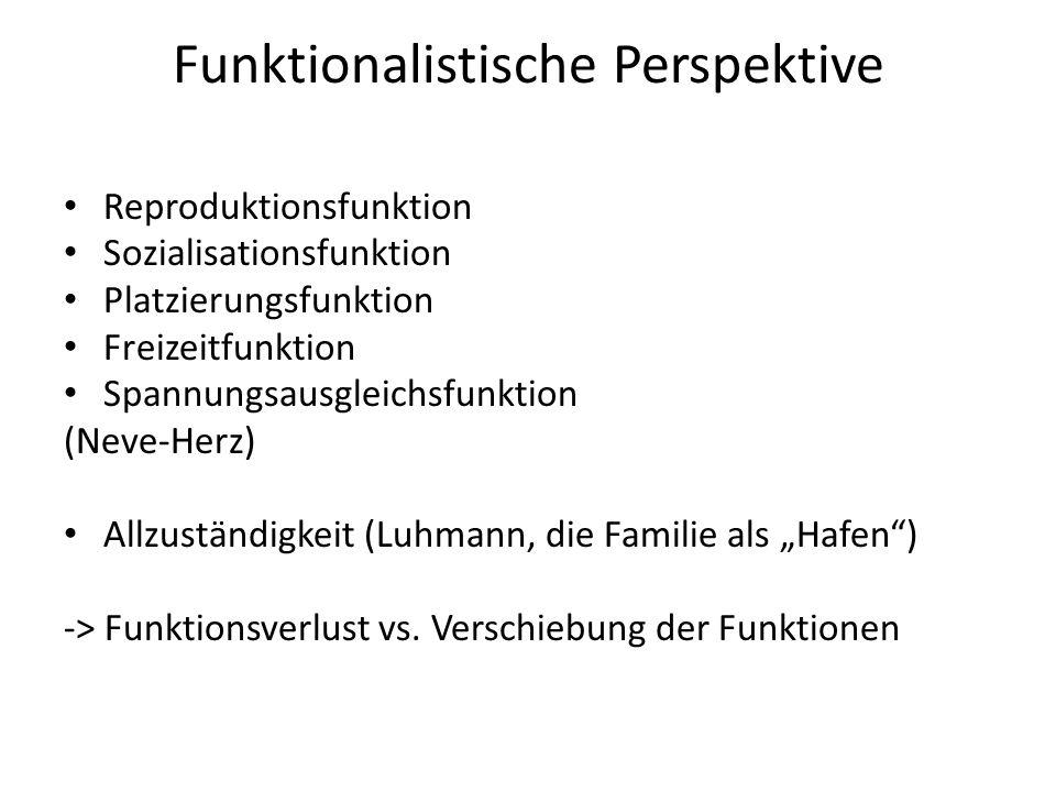 Funktionalistische Perspektive Reproduktionsfunktion Sozialisationsfunktion Platzierungsfunktion Freizeitfunktion Spannungsausgleichsfunktion (Neve-He