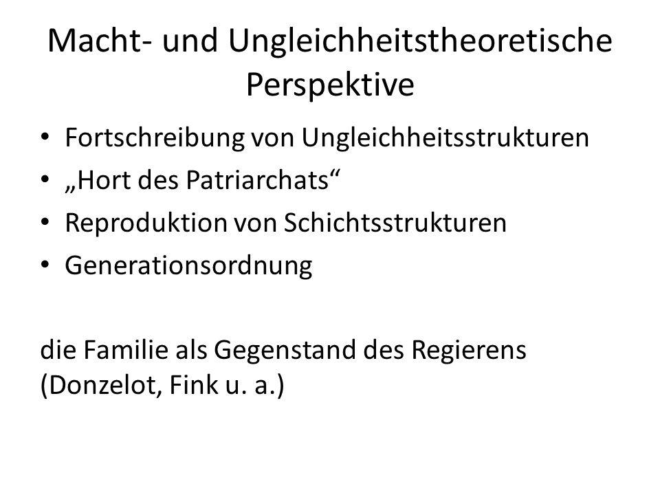 """Macht- und Ungleichheitstheoretische Perspektive Fortschreibung von Ungleichheitsstrukturen """"Hort des Patriarchats"""" Reproduktion von Schichtsstrukture"""