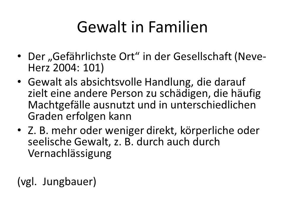 """Gewalt in Familien Der """"Gefährlichste Ort"""" in der Gesellschaft (Neve- Herz 2004: 101) Gewalt als absichtsvolle Handlung, die darauf zielt eine andere"""