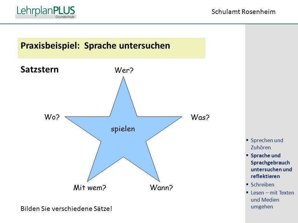 ^ Praxisbeispiel: Sprache untersuchen Satzstern spielen Wer.