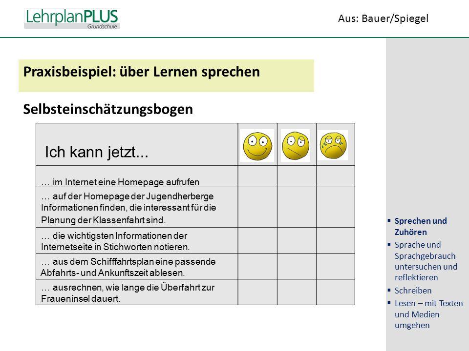 ^ Praxisbeispiel: über Lernen sprechen Selbsteinschätzungsbogen Ich kann jetzt...
