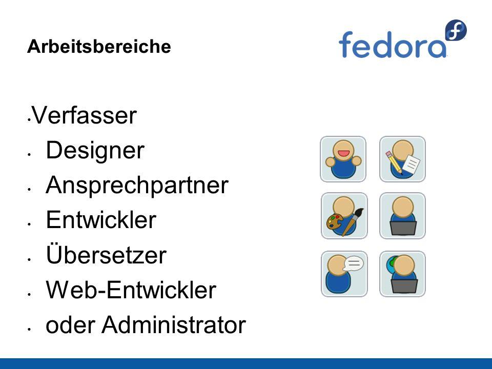 Arbeitsbereiche Verfasser Designer Ansprechpartner Entwickler Übersetzer Web-Entwickler oder Administrator