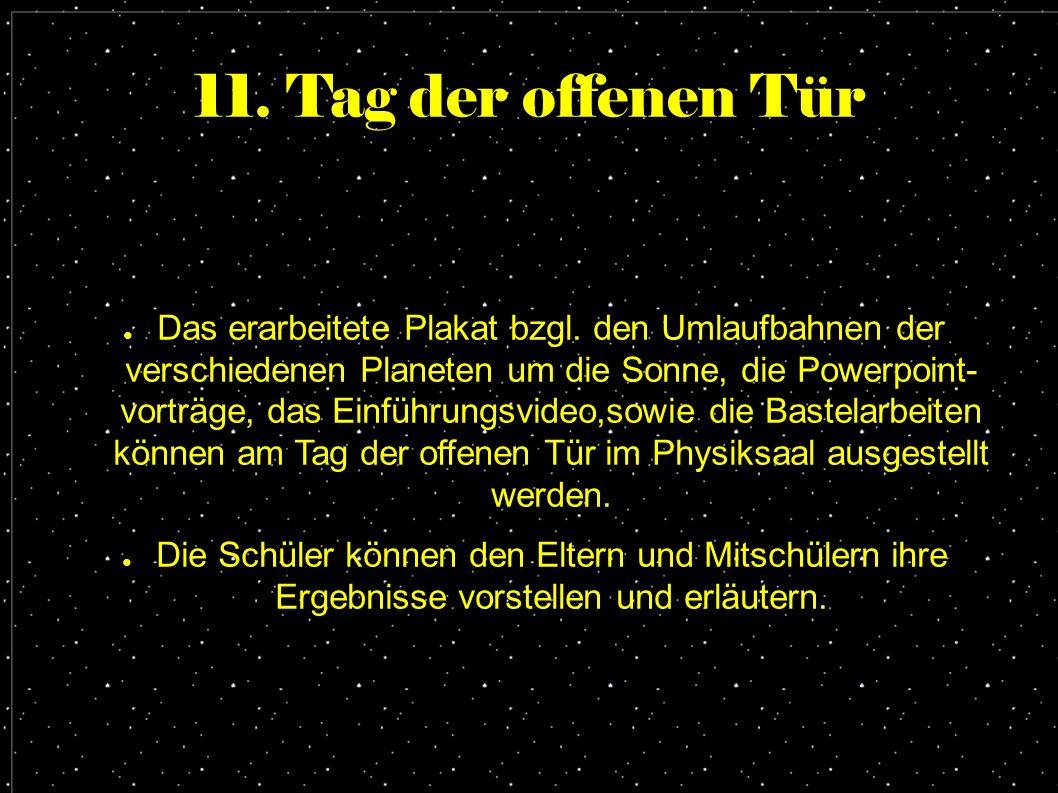 11. Tag der offenen Tür ● Das erarbeitete Plakat bzgl. den Umlaufbahnen der verschiedenen Planeten um die Sonne, die Powerpoint- vorträge, das Einführ