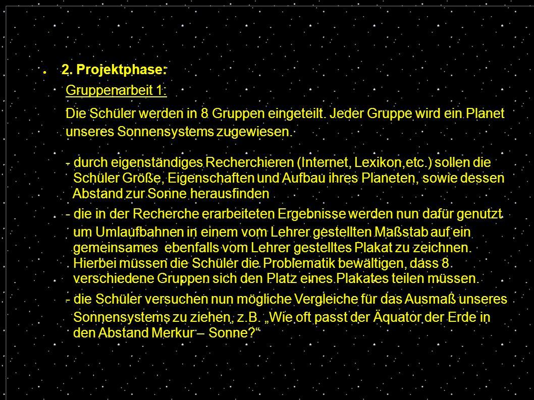 ● 2. Projektphase: Gruppenarbeit 1: Die Schüler werden in 8 Gruppen eingeteilt. Jeder Gruppe wird ein Planet unseres Sonnensystems zugewiesen. - durch