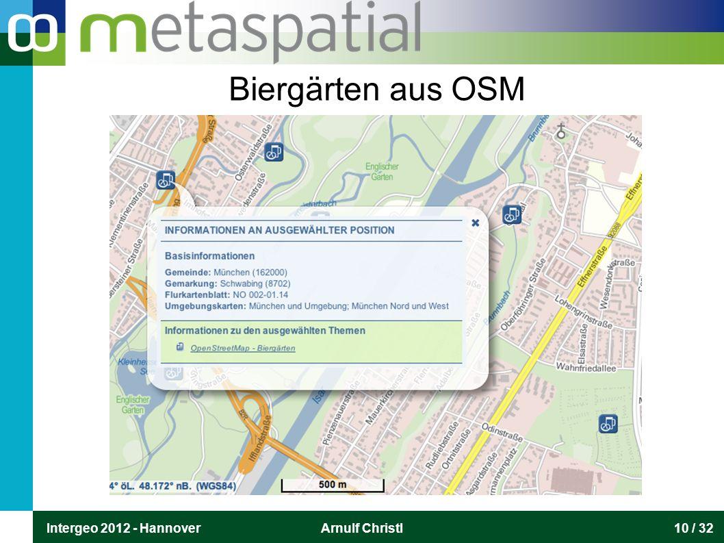 Intergeo 2012 - HannoverArnulf Christl10 / 32 Biergärten aus OSM