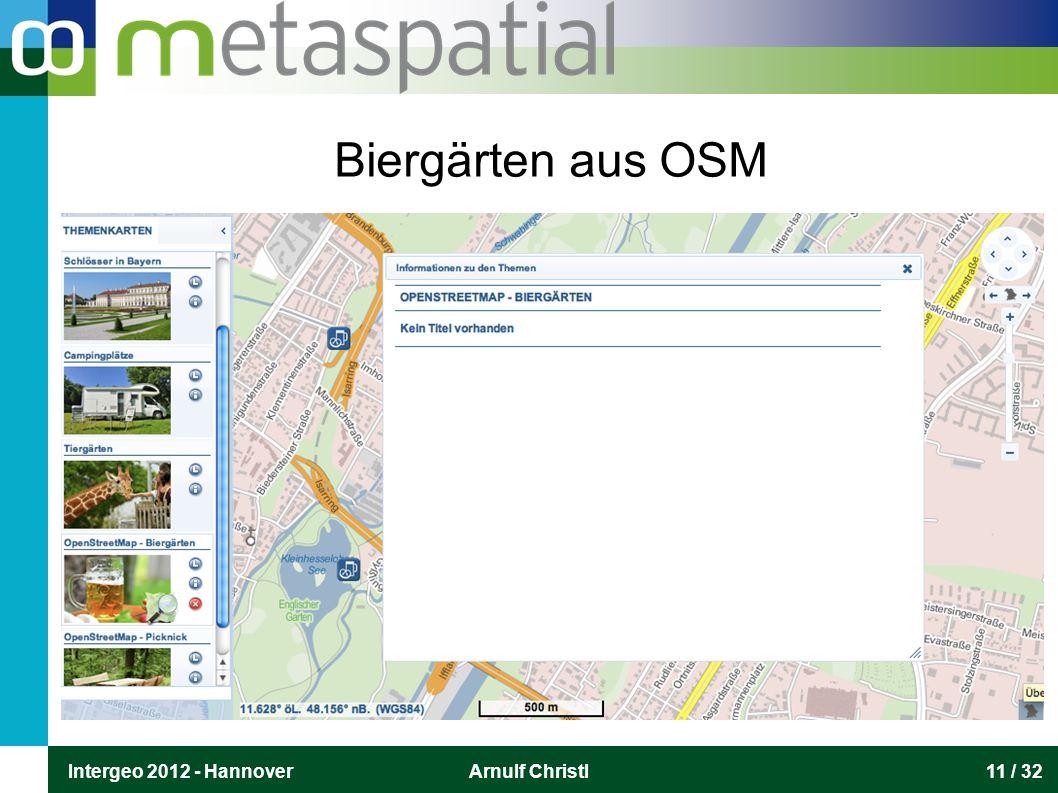 Intergeo 2012 - HannoverArnulf Christl11 / 32 Biergärten aus OSM