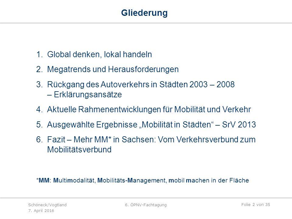 """Gliederung 1.Global denken, lokal handeln 2.Megatrends und Herausforderungen 3.Rückgang des Autoverkehrs in Städten 2003 – 2008 – Erklärungsansätze 4.Aktuelle Rahmenentwicklungen für Mobilität und Verkehr 5.Ausgewählte Ergebnisse """"Mobilität in Städten – SrV 2013 6.Fazit – Mehr MM* in Sachsen: Vom Verkehrsverbund zum Mobilitätsverbund *MM: Multimodalität, Mobilitäts-Management, mobil machen in der Fläche Folie 2 von 35 Schöneck/Vogtland 7."""