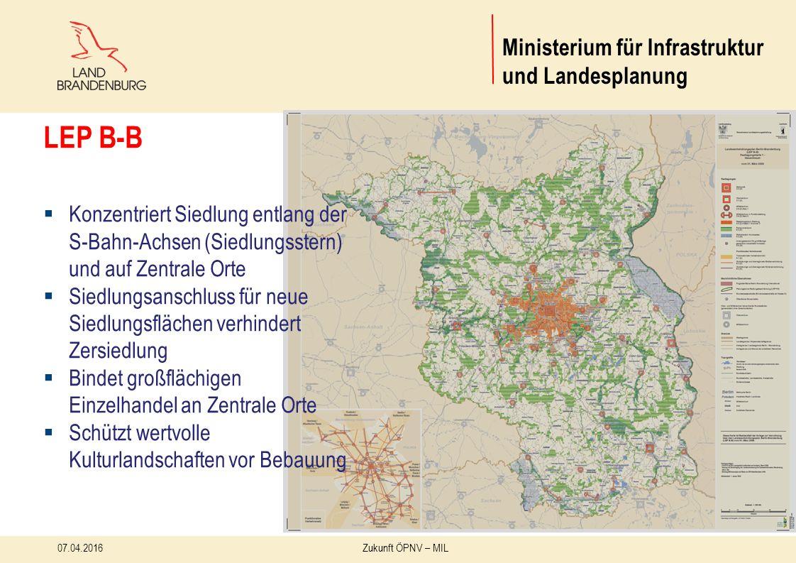 07.04.2016Zukunft ÖPNV – MIL 19 Ministerium für Infrastruktur und Landesplanung