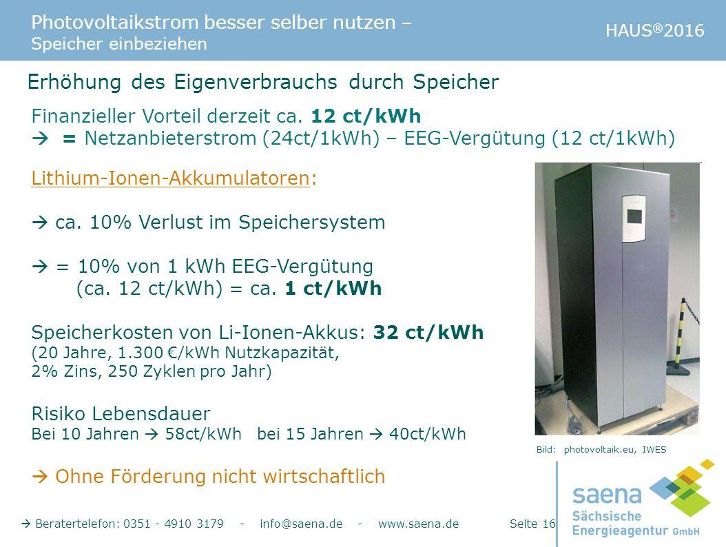 Photovoltaikstrom besser selber nutzen – Speicher einbeziehen HAUS ® 2016  Beratertelefon: 0351 - 4910 3179 - info@saena.de - www.saena.de Seite 16 E