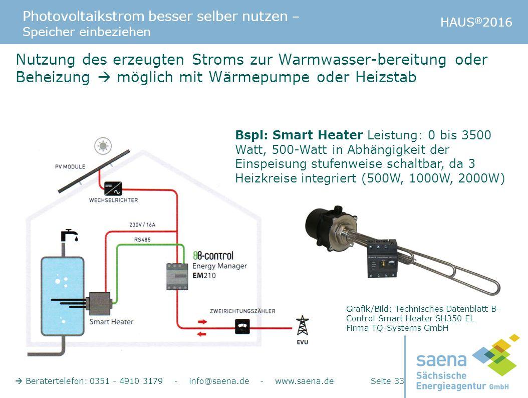 Photovoltaikstrom besser selber nutzen – Speicher einbeziehen HAUS ® 2016  Beratertelefon: 0351 - 4910 3179 - info@saena.de - www.saena.de Seite 33 N