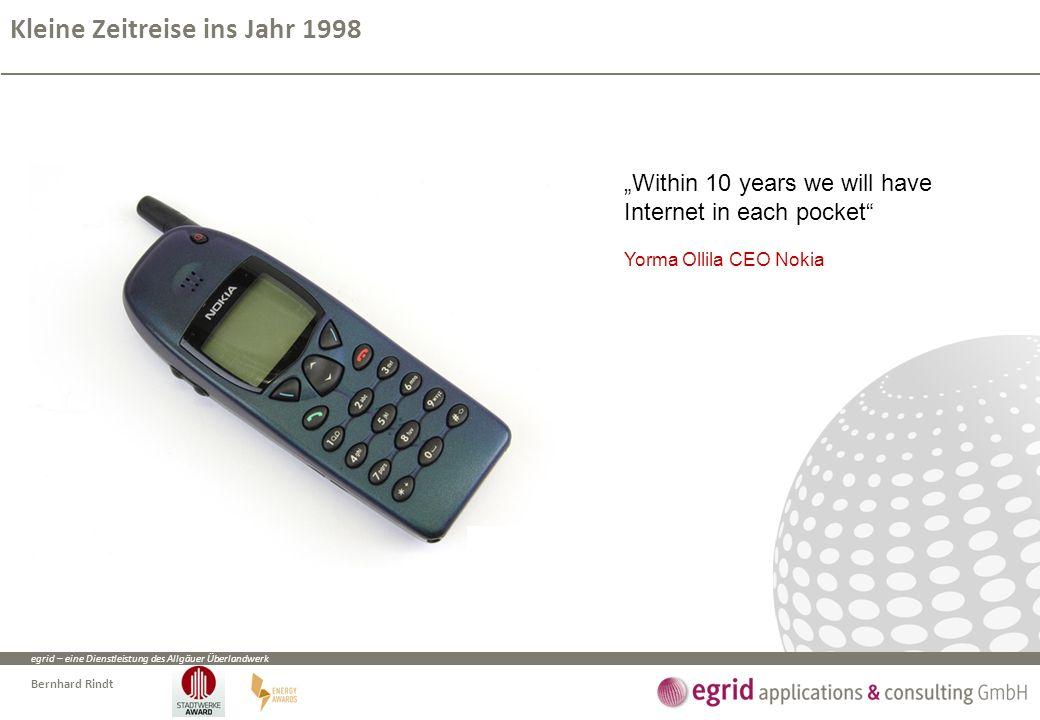 """egrid – eine Dienstleistung des Allgäuer Überlandwerk Bernhard Rindt Kleine Zeitreise ins Jahr 1998 """"Within 10 years we will have Internet in each pocket Yorma Ollila CEO Nokia"""