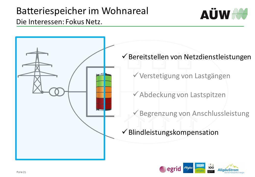 Folie 21 Batteriespeicher im Wohnareal Die Interessen: Fokus Netz. Bereitstellen von Netzdienstleistungen Verstetigung von Lastgängen Abdeckung von La