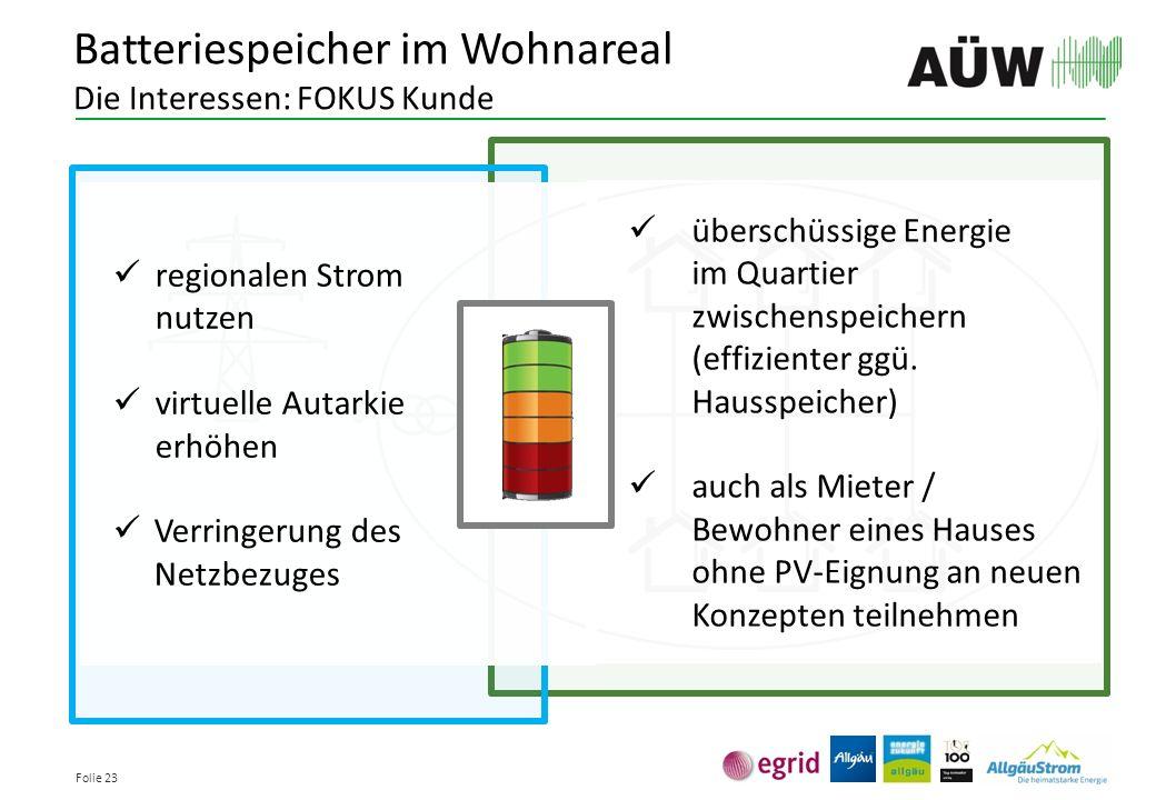 Folie 23 überschüssige Energie im Quartier zwischenspeichern (effizienter ggü. Hausspeicher) auch als Mieter / Bewohner eines Hauses ohne PV-Eignung a