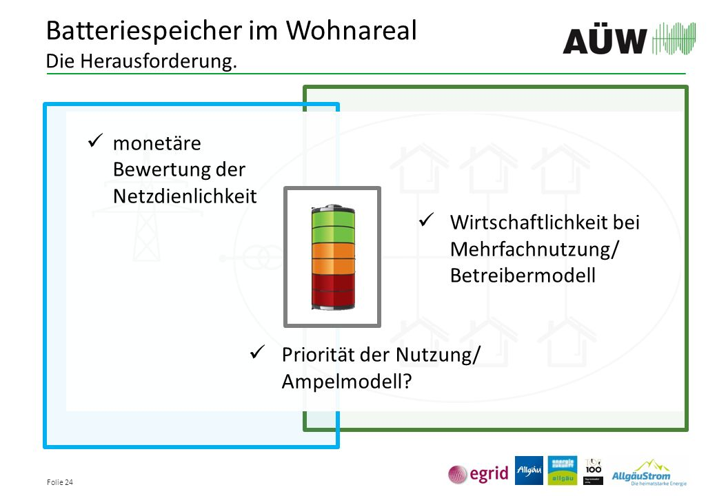 Folie 24 Batteriespeicher im Wohnareal Die Herausforderung. monetäre Bewertung der Netzdienlichkeit Wirtschaftlichkeit bei Mehrfachnutzung/ Betreiberm
