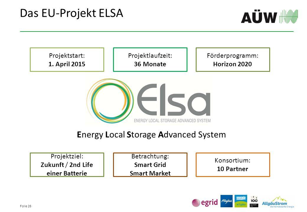 Folie 26 Energy Local Storage Advanced System Das EU-Projekt ELSA Projektstart: 1. April 2015 Projektlaufzeit: 36 Monate Förderprogramm: Horizon 2020