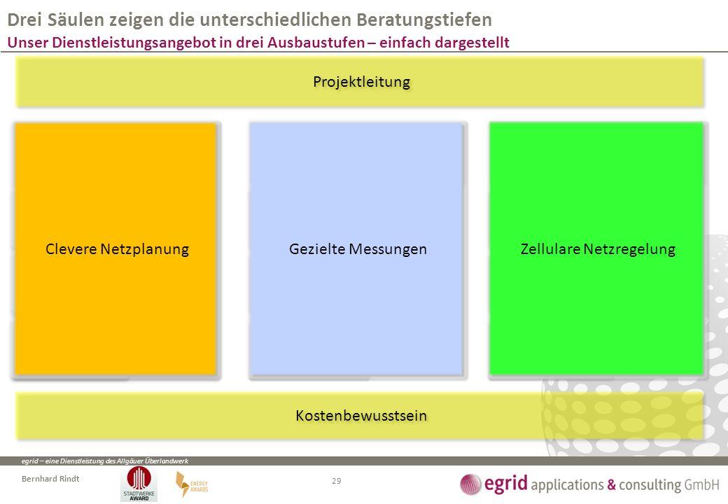 egrid – eine Dienstleistung des Allgäuer Überlandwerk Bernhard Rindt Drei Säulen zeigen die unterschiedlichen Beratungstiefen Unser Dienstleistungsangebot in drei Ausbaustufen – einfach dargestellt 29